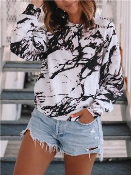 Casual Women's T-Shirt Loose Round Neck Long Sleeve Tie-dye Printed Women's Top