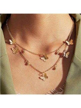 Butterfly Choker Necklace 2 Layered Pendant Necklace Fashion Butterfly Chain Jewelry for Women and Girls