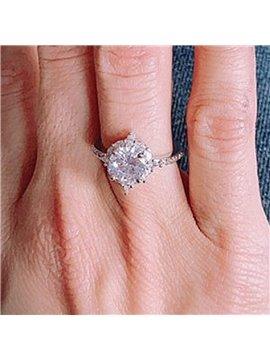 Romantic Diamond Silver Wedding Engagement Rings for Women Girls