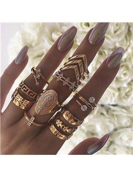 13 Pieces Creative Retro Diamond Ring Set for Women Girls