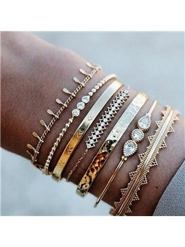 Multiple Layered Stackable Open Cuff Wrap Bangle Bracelet Jewelry Adjustable for Women Girls