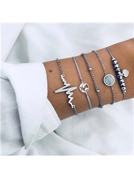 Multiple Layered Set Bracelets for Women Girl Link Layer Charm Pendant Stack Bangle Adjustable Assorted Beaded Wrap Friendship Jewelry Gift