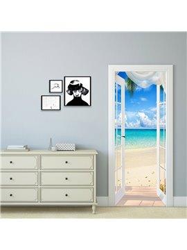 3D Ocean Beach Self-Adhesive Door Stickers Waterproof Removable Landscape Door Murals for Home Decor