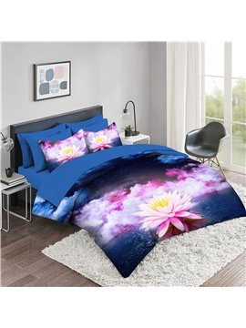 5 Piece 3D Comforter Sets Creative Flower Series Galaxy Background Lotus Rose 2 Pillowcases 1 Flat Sheet 1 Fitted Sheet 1 3D Comforter High-Quality Microfiber Polyester Ultra Soft Bed in a Bag