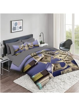 5 Piece 3D Comforter Sets Creative Dollar Pattern Series 2 Pillowcases 1 Flat Sheet 1 Fitted Sheet 1 3D Comforter High-Quality Microfiber Polyester Ultra Soft Bed in a Bag