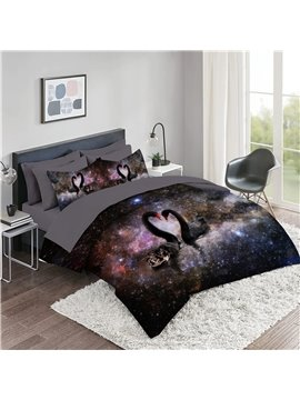 5 Piece 3D Comforter Sets Black Swan Series Galaxy Background 2 Pillowcases 1 Flat Sheet 1 Fitted Sheet 1 3D Comforter High-Quality Microfiber Polyester Ultra Soft Bed in a Bag