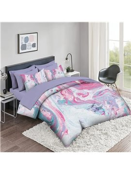 5 Piece 3D Comforter Sets Creative Colorful Marbling Series 2 Pillowcases 1 Flat Sheet 1 Fitted Sheet 1 3D Comforter High-Quality Microfiber Polyester Ultra Soft Bed in a Bag