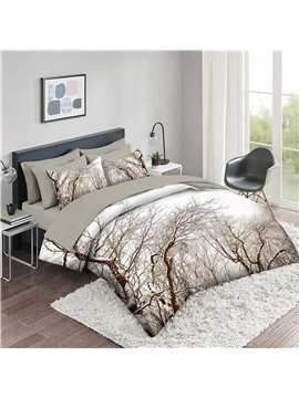 5 Piece 3D Comforter Sets Creative Tree Pattern Series 2 Pillowcases 1 Flat Sheet 1 Fitted Sheet 1 3D Comforter High-Quality Microfiber Polyester Ultra Soft Bed in a Bag