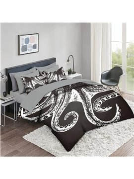 5 Piece 3D Comforter Sets Creative Skull Octopus Pattern Series 2 Pillowcases 1 Flat Sheet 1 Fitted Sheet 1 3D Comforter High-Quality Microfiber Polyester Ultra Soft Bed in a Bag