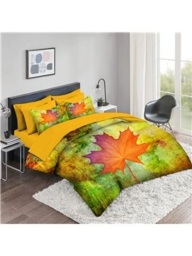 5 Piece 3D Comforter Sets Leaf Pattern Series 2 Pillowcases 1 Flat Sheet 1 Fitted Sheet 1 3D Comforter High-Quality Microfiber Polyester Ultra Soft Bed in a Bag