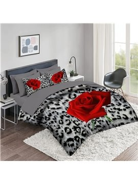 5 Piece 3D Comforter Sets Animal Pattern Series Leopard Tiger Zebra And Rose 2 Pillowcases 1 Flat Sheet 1 Fitted Sheet 1 3D Comforter High-Quality Microfiber Polyester Ultra Soft Bed in a Bag