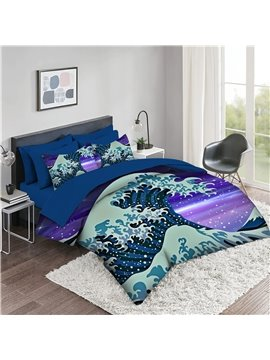5 Piece 3D Comforter Sets Japanese Style Series 2 Pillowcases 1 Flat Sheet 1 Fitted Sheet 1 3D Comforter High-Quality Microfiber Polyester Ultra Soft Bed in a Bag