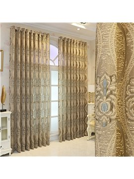European High-end Gold Sheer Curtains for Living Room Bedroom Decoration Custom 2 Panels Breathable Voile Drapes No Pilling No Fading No off-lining Polyester
