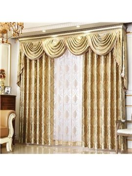 European Elegant Shading Curtains Golden Coffee Color for Living Room Bedroom Decoration Custom 2 Panels Drapes No Pilling No Fading No off-lining