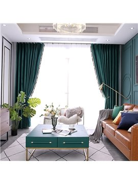 European Green Velvet Shading Curtains for Living Room Bedroom Decoration Custom 2 Panels Drapes No Pilling No Fading No off-lining