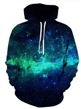 3D Printed Green Galaxy Men's Hoodie Couple Outfit Unisex Pullover Hoodies Long Sleeve Loose Sweatshirt Sportswear