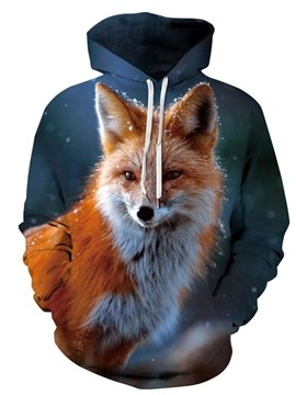 Creative 3D Printed Fox Men's Hoodie Couple Outfit Unisex Pullover Hoodies Fashion Long Sleeve Loose Sweatshirt Sportswear