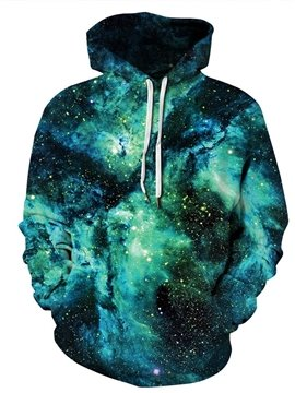 3D Printed Green Galaxy Men's Hoodie Couple Outfit Unisex Pullover Hoodies Fashion Long Sleeve Loose Sweatshirt Sportswear