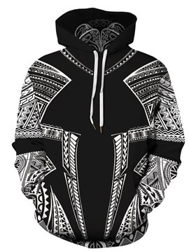 Casual Black 3D Printed Men's Hoodie Couple Outfit Unisex Pullover Hoodies Fashion Long Sleeve Loose Sweatshirt Sportswear