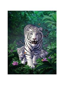 One Panel White Tiger Waterproof Non-framed Prints Canvas Wall Art Ready to Hang Pictures for Home Decorations