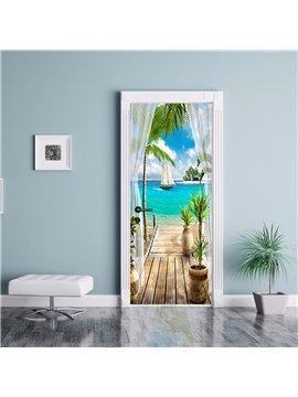3D Seaside Landscape Self-adhesive Waterproof Door Murals Eco-friendly Removable Decorative Stickers