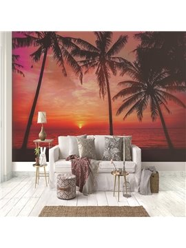 3D Seaside Sunset Scenery Pattern Waterproof Durable Non-Woven Wall Murals Eco-friendly Decorative Wall Stickers for Living Room Bedroom