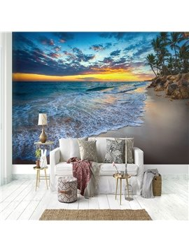 3D Beach Scene Pattern Waterproof Durable Non-Woven Wall Murals Eco-friendly Decorative Wall Stickers for Living Room Bedroom