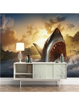 3D Shark Removable Wall Murals Waterproof Wall Decorations for Living Room Bedroom