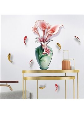 3D Flower and Vase Waterproof Removable Wall Stickers DIY Wall Decorations Wall Decals