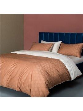 Modern High-end 4 PCS Duvet Cover Set Cotton Orange Bedding Set 1 Duvet Cover 1 Flat Sheet 2 Pillowcases Soft Comfortable Durable