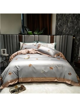 Modern Luxurious 4 PCS Duvet Cover Set Cotton Gray Butterfly Bedding Set 1 Duvet Cover 1 Flat Sheet 2 Pillowcases Soft Comfortable Durable