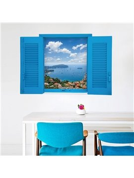 3D Blue Fake Windows Scenery Wall Stickers Waterproof Removable Wall Decorations Self-adhesive DIY Stickers