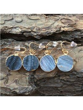 Blue Agate Earrings Hook Drop Galaxy Earrings