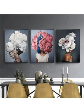 Flower Women Head Abstract Waterproof Non-framed Prints Wall Art Decoration for Living Room
