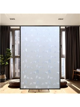 Modern Simple Window Privacy Film Blue Butterfly Pattern Non-Adhesive Static Cling Heat Control Anti UV Non-Adhesiv Window Stickers for Glass Door Home House Ofiice