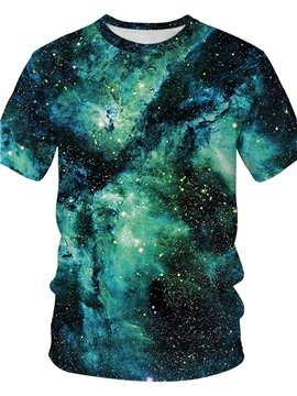 3D Print Men's T-shirt Green Galaxy Casual Couple Outfit Unisex Short Sleeve Round Neck with Comfortable Breathable Fabric