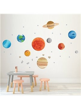 Creative Nine Planets Decoration Stickers Wall Decals Self-adhesive Planet Stickers Personalized Kid's Room Cartoon PVC Stickers for Girls Boys Bedroom Living Room Study Room Shops