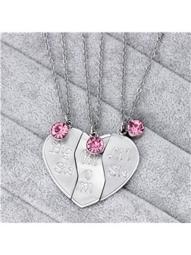 3Pcs Mother Daughter Necklaces Titanium Steel Big Sis Mom Little Sis Pendant Puzzles Necklace Heart-Shaped Family Jewelry Gift Birthday Thanksgiving Mother's Day Gifts