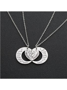 I Love You to The Moon and Back Pendant Necklace 2PCS Mother Daughter Necklaces Heart-Shaped Family Jewelry Gift Birthday Thanksgiving Mother's Day Gifts