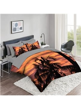 5 Piece 3D Comforter Sets Creative Landscape Bedding Sets 2 Pillowcases 1 Flat Sheet 1 Fitted Sheet 1 3D Comforter High-Quality Microfiber Polyester Ultra Soft Bed in a Bag