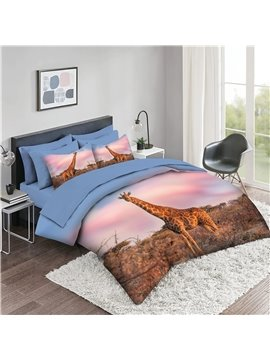 5 Piece 3D Comforter Sets Deer and Landscape Series Bedding Sets 2 Pillowcases 1 Flat Sheet 1 Fitted Sheet 1 3D Comforter High-Quality Microfiber Polyester Ultra Soft Bed in a Bag
