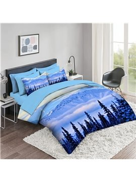 5 Piece 3D Comforter Sets Snow Scenery Series Bedding Sets 2 Pillowcases 1 Flat Sheet 1 Fitted Sheet 1 3D Comforter High-Quality Microfiber Polyester Ultra Soft Bed in a Bag