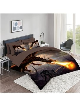 5 Piece 3D Comforter Sets Creative Dragon Series Bedding Sets 2 Pillowcases 1 Flat Sheet 1 Fitted Sheet 1 3D Comforter High-Quality Microfiber Polyester Ultra Soft Bed in a Bag