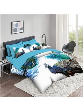 5 Piece 3D Comforter Sets Creative Animal Peacock  Bedding Sets 2 Pillowcases 1 Flat Sheet 1 Fitted Sheet 1 3D Comforter High-Quality Microfiber Polyester Ultra Soft Bed in a Bag