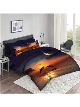 5 Piece 3D Comforter Sets Creative Dolphin Sea Galaxy Background Bedding Sets 2 Pillowcases 1 Flat Sheet 1 Fitted Sheet 1 3D Comforter High-Quality Microfiber Polyester Ultra Soft Bed in a Bag