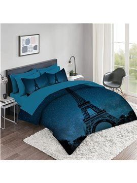 5 Piece 3D Comforter Sets Creative Eiffel Tower Galaxy Background Bedding Sets 2 Pillowcases 1 Flat Sheet 1 Fitted Sheet 1 3D Comforter High-Quality Microfiber Polyester Ultra Soft Bed in a Bag