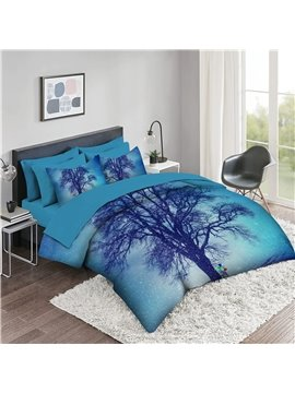 5 Piece 3D Comforter Sets Creative Tree Bedding Sets 2 Pillowcases 1 Flat Sheet 1 Fitted Sheet 1 3D Comforter High-Quality Microfiber Polyester Ultra Soft Bed in a Bag