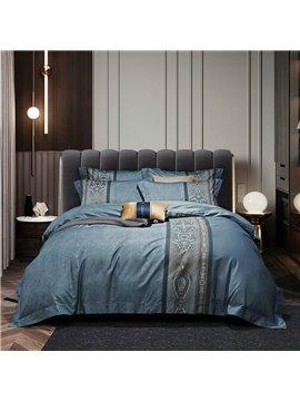 Modern Luxurious 4 PCS Duvet Cover Set Blue High-Quality Nylon Cotton Bedding Set 1 Duvet Cover 1 Flat Sheet 2 Pillowcases Soft Comfortable Durable