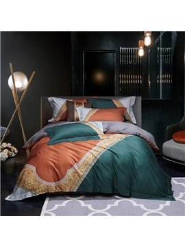 Modern High-end 4 PCS Duvet Cover Set Nylon Cotton Green Orange Color Matching Bedding Set 1 Duvet Cover 1 Flat Sheet 2 Pillowcases Soft Comfortable Durable