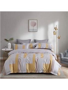 Luxurious 4 PCS Duvet Cover Set Modern Gray Cotton Bedding Set 1 Duvet Cover 1 Flat Sheet 2 Pillowcases Soft Comfortable Durable